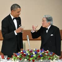 U.S. President Barack Obama and Emperor Akihito toast during a banquet at the Imperial Palace in Tokyo on April 24, 2014. | POOL / VIA KYODO