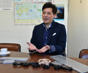 Takashi Suzuki, CEO of Sakae Casting Co., speaks during an interview at his office in Hachioji, western Tokyo, on Jan. 29.