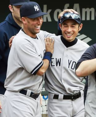 Ichiro shares a moment with Yankees teammate Derek Jeter after a victory in September 2012 in Baltimore.