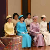 Female Imperial family members attend the annual New Year's poetry reading ceremony at the Imperial Palace in Tokyo on Jan. 12, 2018. Princess Ayako (right) lost her royal status in October after getting married. | POOL / VIA KYODO