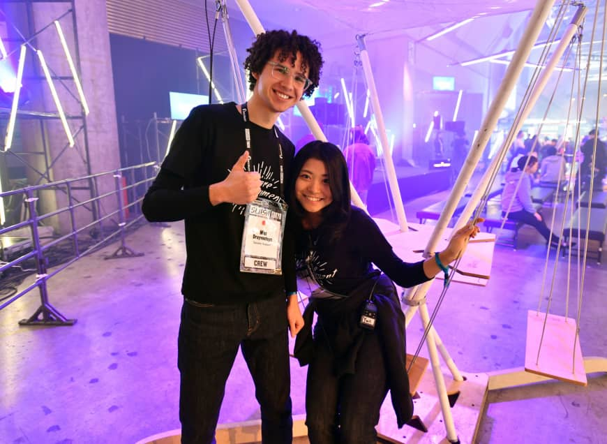 Staff at Slush Tokyo attend the event at Tokyo Big Sight in February.