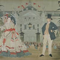 ''In Front of the Paris Opera' in 'The Strange Tale of the Castaways: A Western Kabuki'' (1879, on display until April 29)  THE GAS MUSEUM (TOKYO GAS)