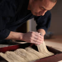 Chef and food consultant Shuichi Kotani prepares his hand-made soba noodles. | WORLDWIDE-SOBA, INC