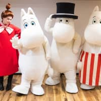 The Moomin cast of Emma's Theatre in MoominValley Park pose for a photo.   COURTESY OF MOOMINVALLEY PARK