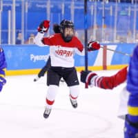 Smile Japan's Ayaka Toko, seen here in a file photo from last year's Pyeongchang Olympics, scored in Thursday's 3-0 victory over France in their opening game at the world championships in Espoo, Finland. | KYODO