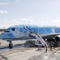 The first Airbus A380 aircraft operated by All Nippon Airways has a special sea turtle livery. With the launch of the aircraft Friday, ANA hopes to bolster its cash-cow Honolulu routes. | ‹