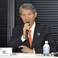 Chiyoda President and CEO Masaji Santo speaks during a news conference in Tokyo on Thursday. | KYODO