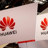 The logo of Huawei is seen at the high profile startups and high tech leaders gathering, Viva Tech, in Paris May 16. | REUTERS