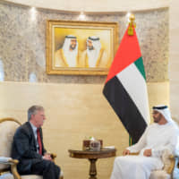 Abu Dhabi Crown Prince Sheikh Mohammed bin Zayed al-Nahyan meets with the U.S. National Security Adviser John Bolton in Abu Dhabi Wednesday. | WAM / HANDOUT / VIA REUTERS