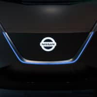 A Nissan Motor Co. IMx Kuro electric concept vehicle is displayed at the carmaker's headquarters in Yokohama last week. | BLOOMBERG