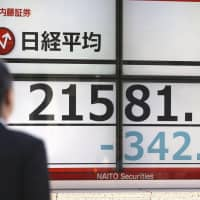 A monitor shows the benchmark 225-issue Nikkei average extending sharp declines during early trading Wednesday amid fears about a U.S.-China trade war. | KYODO