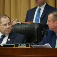 House Judiciary Committee Committee Chairman Jerry Nadler (D-NY) looks over at ranking member Rep. Doug Collins (R-GA) during a Judiciary Committee debate on whether to hold U.S. Attorney General William Barr in contempt of Congress for not responding to a subpoena on Capitol Hill in Washington Wednesday. | REUTERS