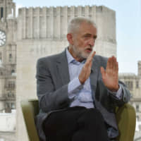 Britain's opposition Labour Party leader, Jeremy Corbyn, appears on the BBC's 'The Andrew Marr Show' in London on Sunday.   REUTERS