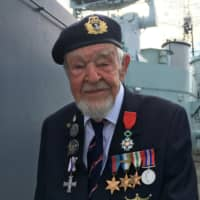 D-Day veteran Richard Llewellyn on HMS Belfast, on the River Thames in London on May 22 | REUTERS