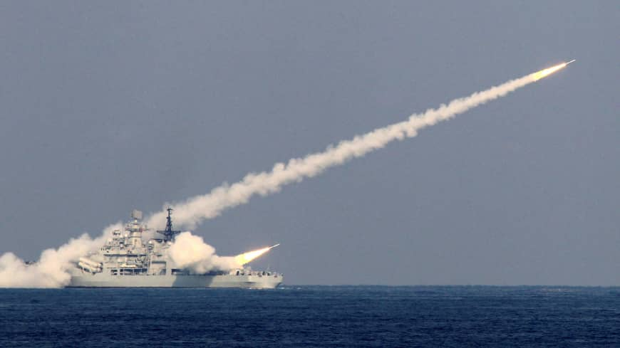 Guided missiles are launched during a military drill of the North Sea Fleet in Qingdao, in China