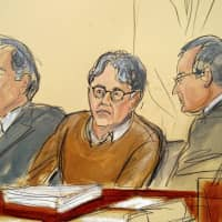 In this courtroom drawing, defendant Keith Raniere (center) is seated between his attorneys, Paul DerOhannesian (left) and Marc Agnifilo during the first day of his sex trafficking trial Tuesday. Raniere, the former leader of the self help group called NXIVM, has pleaded not guilty to tcharges that he turned his followers into sex slaves. | ELIZABETH WILLIAMS / VIA AP