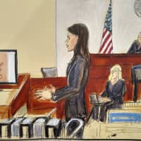 In this courtroom drawing, Assistant U.S. Attorney Tanya Hajjar gives an opening statement to the jury as Judge Nicholas Garaufis listens from the right, in the sex trafficking trial of NXIVM group leader Keith Raniere, Tuesday in New York. The image on the left side screen is a photo of the branded mark made on a woman with Raniere's initials. | ELIZABETH WILLIAMS / VIA AP