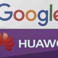 This combination photo shows the logos of U.S. internet search giant Google and Chinese electronics firm Huawei.   AFP-JIJI