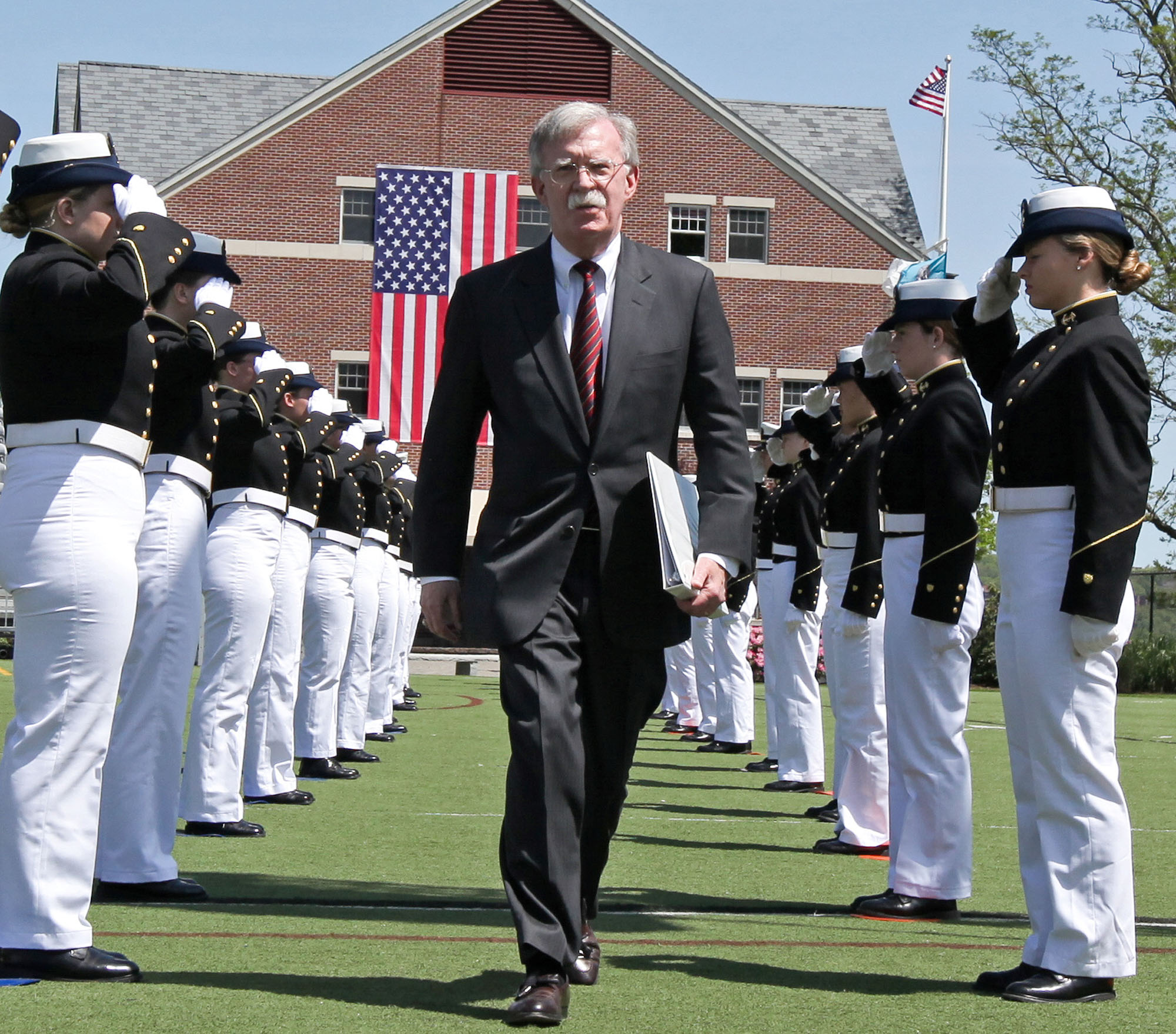 U.S. national security adviser John Bolton arrives to attend a graduation ceremony at the U.S. Coast Guard Academy in New London, Connecticut, on Wednesday. | REUTERS