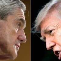Then-FBI Director Robert Mueller (left) is seen in 2013 and U.S. President Donald Trump in 2017. Trump declared Sunday that special counsel Mueller 'should not testify' before Congress on his investigation into Russia's interference in the 2016 elections. The House Judiciary Committee has asked Mueller to testify on May 15 about his 22-month-long investigation, which found that Trump attempted to thwart the probe but was silent on whether he should be charged with obstruction of justice. | AFP-JIJI
