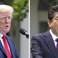 Prime Minister Shinzo Abe and U.S. President Donald Trump discussed the denuclearization of North Korea and Trump's state visit to Japan in late May, among other topics, on Monday. | KYODO