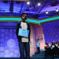 Ariya Narayanasamy competes in the Scripps National Spelling Bee on Tuesday in National Harbor, Maryland. | KYODO