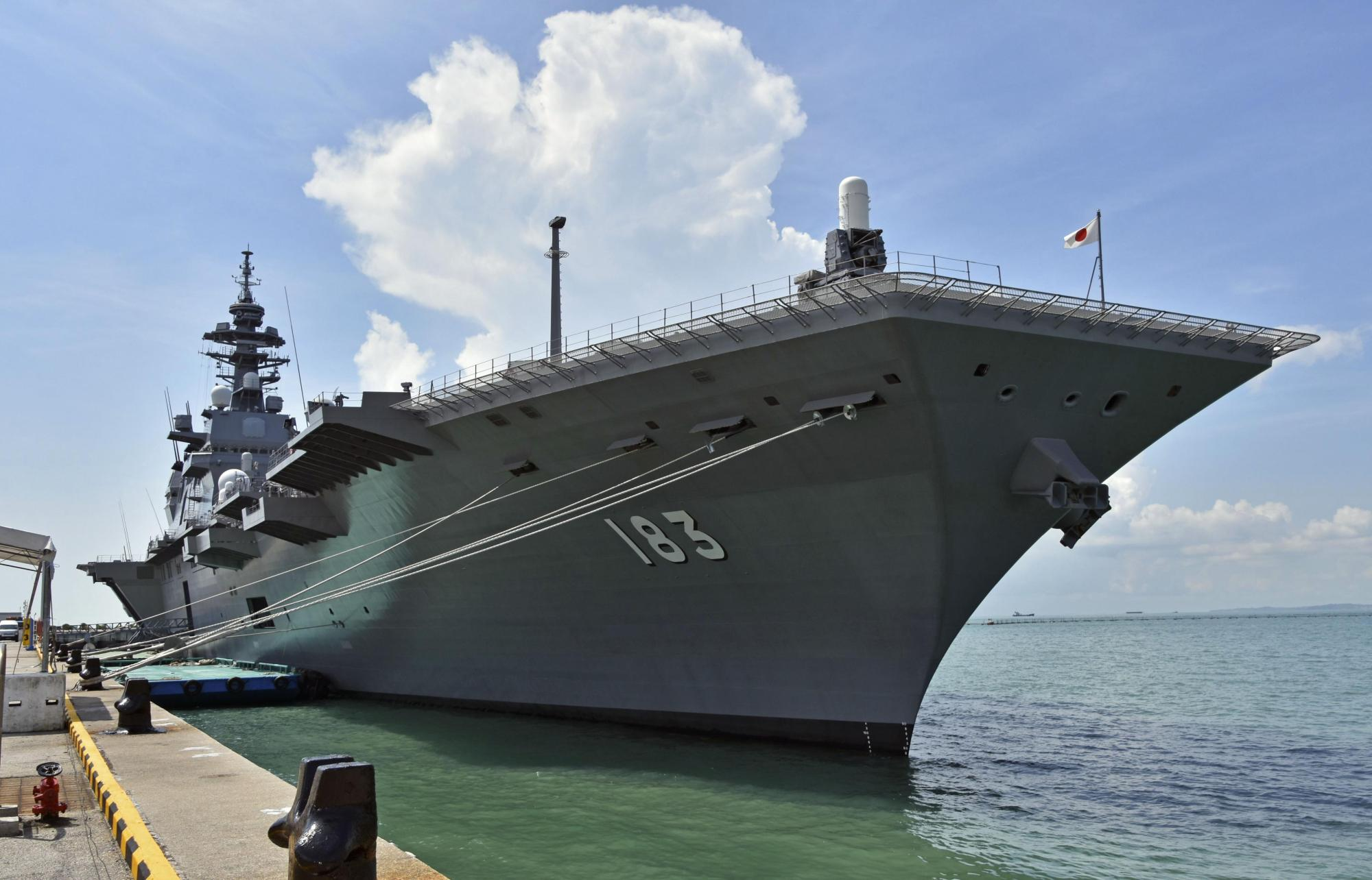 The Maritime Self-Defense Force's helicopter carrier Izumo is anchored at a port in Singapore on May 13 ahead of joint drills with France, Australia and the United States in the Indian Ocean that began Sunday. | KYODO