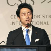 Shinjiro Koizumi, a Lower House lawmaker from the ruling Liberal Democratic Party, speaks about the Japan-U.S. alliance in Washington on Friday.   KYODO