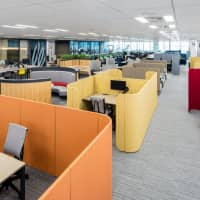 An overview of Itoki Corp.'s Tokyo headquarters shows workspaces designed according to the Activity-Based Working concept. | COURTESY ITOKI CORP.