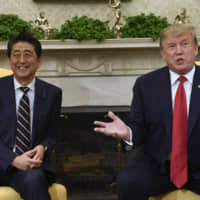 U.S. President Donald Trump speaks during a meeting with Prime Minister Shinzo Abe in the Oval Office of the White House in Washington on April 26.  | AP
