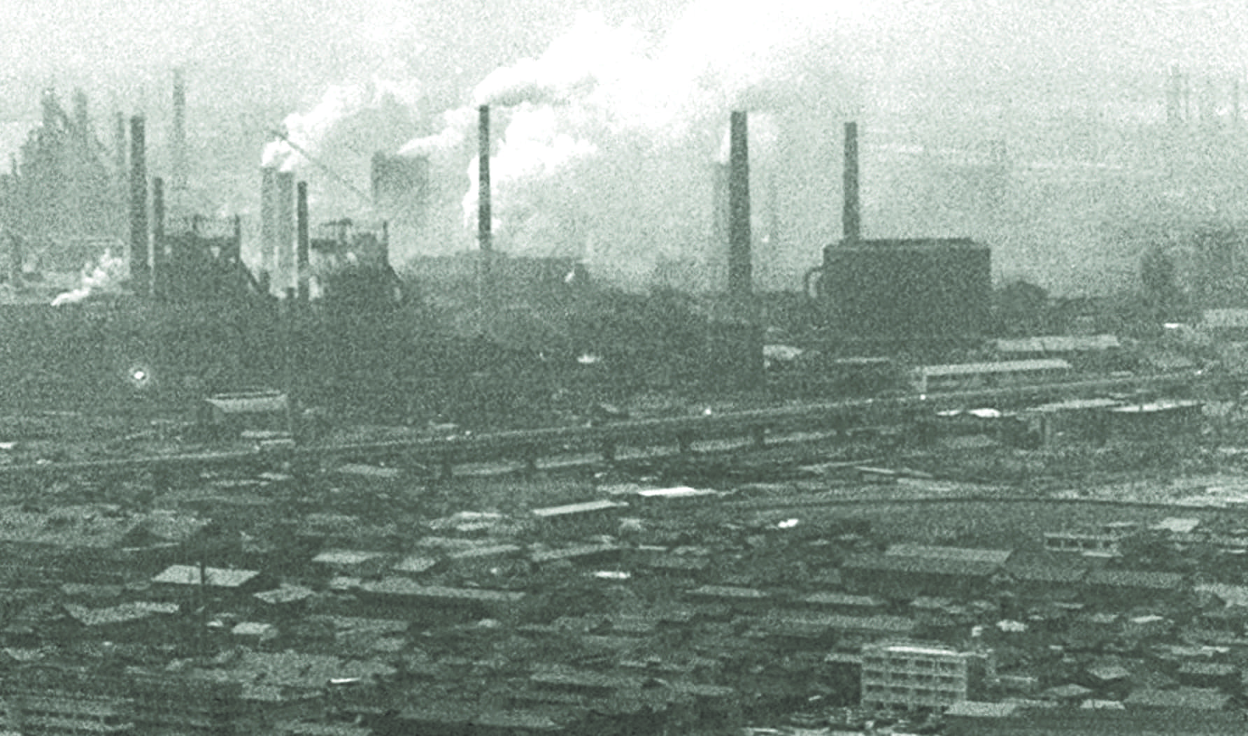 Smoke monsters: An aerial view of factories near the city of Kawasaki, Kanagawa Prefecture, in 1970. Pollution from neighboring districts used to drift into Tokyo and negatively affect the quality of air in the capital.