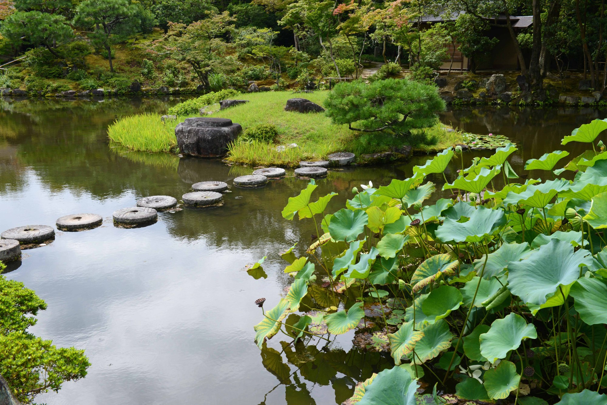 Mill stones are used as stepping stones in the stroll garden of Isuien in Nara.   STEPHEN MANSFIELD
