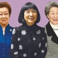 Although the role of a Japanese prime minister's wife has traditionally been a low-key one, former first ladies like Chizuko Obuchi (left), Miyuki Hatoyama (center) and Kumiko Hashimoto say they always had a crucial part to play behind the scenes. | Satoko Kawasaki, Yoshiaki Miura