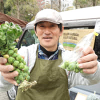 Eat your vegetables: Farmer Michihiro Maruyama holds up a bunch of Brussels sprouts at the Eat Local Kobe farmer's market. | JOAN BAILEY
