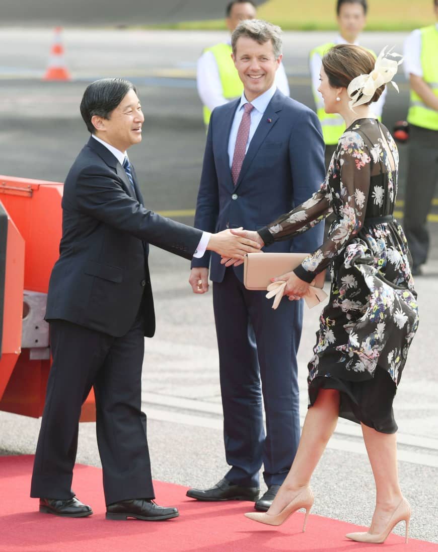 Then-Crown Prince Naruhito is greeted by Denmark