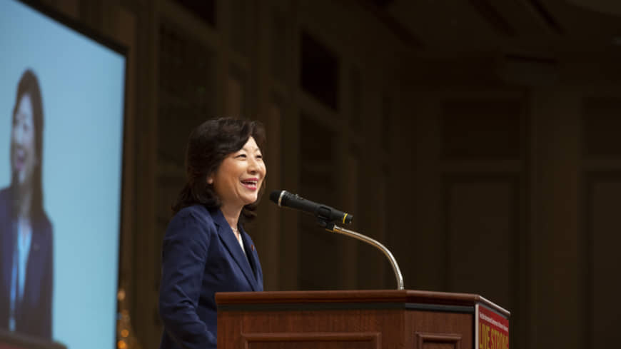 Seiko Noda, former internal affairs minister, speaks during last year's conference. Noda is scheduled to attend this year's conference. | ©INTERNATIONAL CONFERENCE FOR WOMEN IN BUSINESS