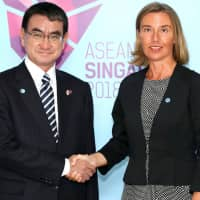 Foreign Minister Taro Kono and European Union High Representative for Foreign Affairs and Security Policy Federica Mogherini in Singapore in August. | EUROPEAN UNION / YASUHIKO SHIMAZU