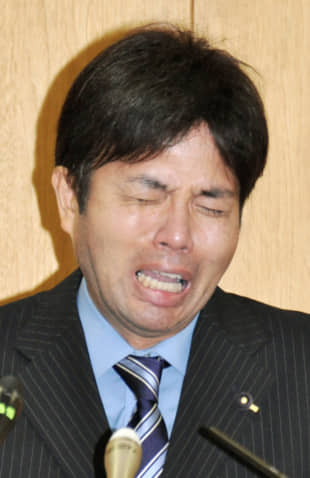 Crocodile tears: Politician Rutaro Nonomura was accused of overdoing it on the tears when making a pubilc apology for his behavior. | KYODO