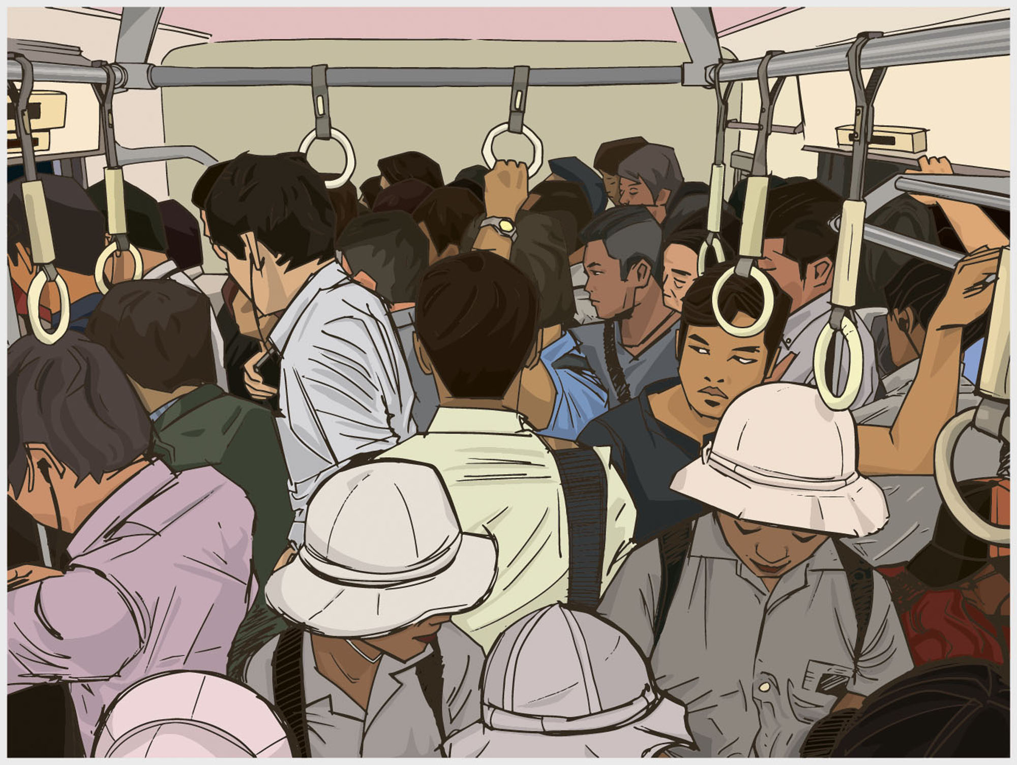 Packed in tight: Trains in Tokyo can get very crowded. Local residents have had to come up with strategies to get through their commutes like leaving earlier than usual or taking a longer, less busy route.   GETTY IMAGES