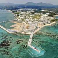 Construction work continues  in Okinawa Prefecture's Henoko coastal area  despite the opposition of a majority of Okinawans to the base-relocation project. | KYODO