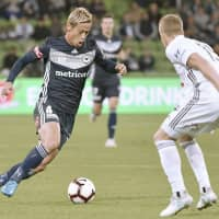 Melbourne Victory's Keisuke Honda is seen in action in a recent A-League game. | KYODO