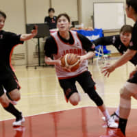 Japan women's national team player Sanae Motokawa attempts to drive to the basket during Tuesday's practice at the National Training Center. | KAZ NAGATSUKA