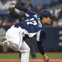 Lions starter Wataru Matsumoto pitches against the Buffaloes on Sunday at Kyocera Dome. | KYODO