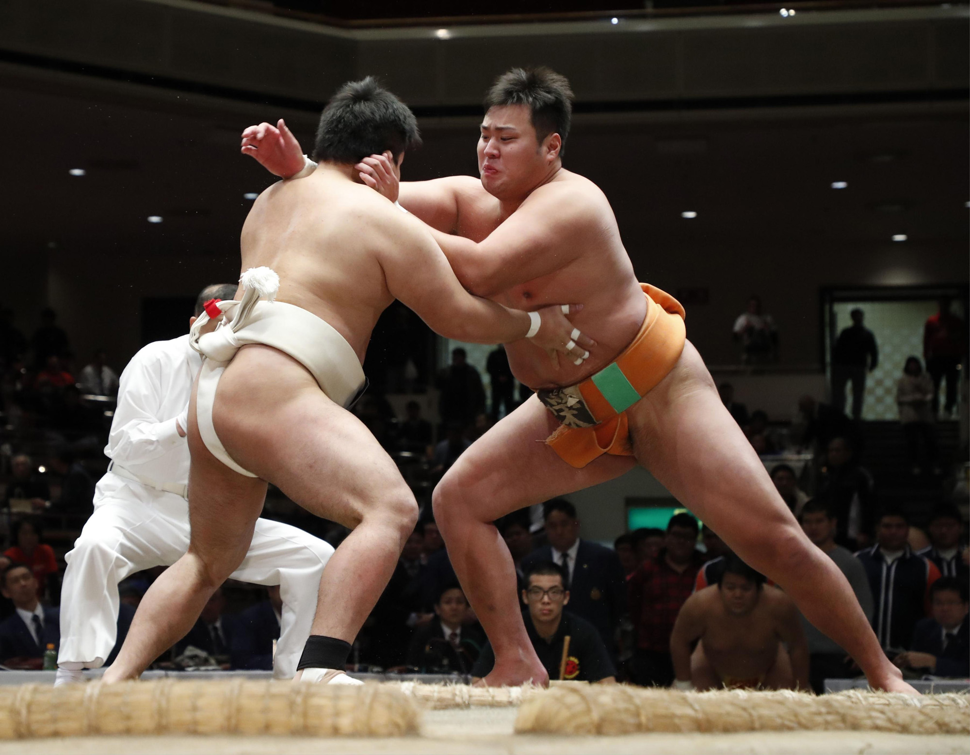 Amateur rikishi compete during a competition on Dec. 4, 2018, at Ryogoku Kokugikan. | KYODO