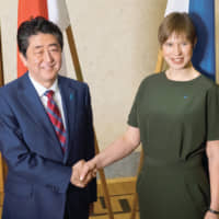 Estonian President Kersti Kaljulaid meets Japanese Prime Minister Shinzo Abe during his visit to the Baltic republic in  January this year. | OFFICE OF THE PRESIDENT