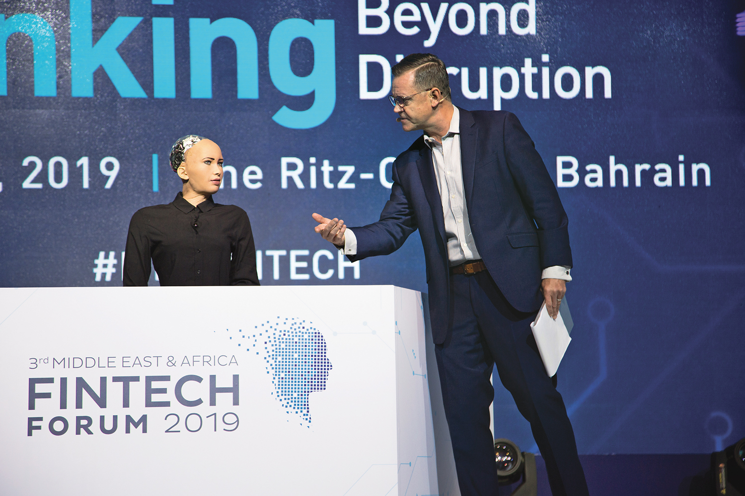 Sophia the Robot at the 3rd Middle East and Africa FinTech Forum on 21 February 2019 in Bahrain. The forum was attended by over 800 delegates.
