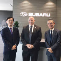 Pasco EDC President and CEO Bill Cronin meets with officers of the Japanese transportation conglomerate Subaru in Japan.