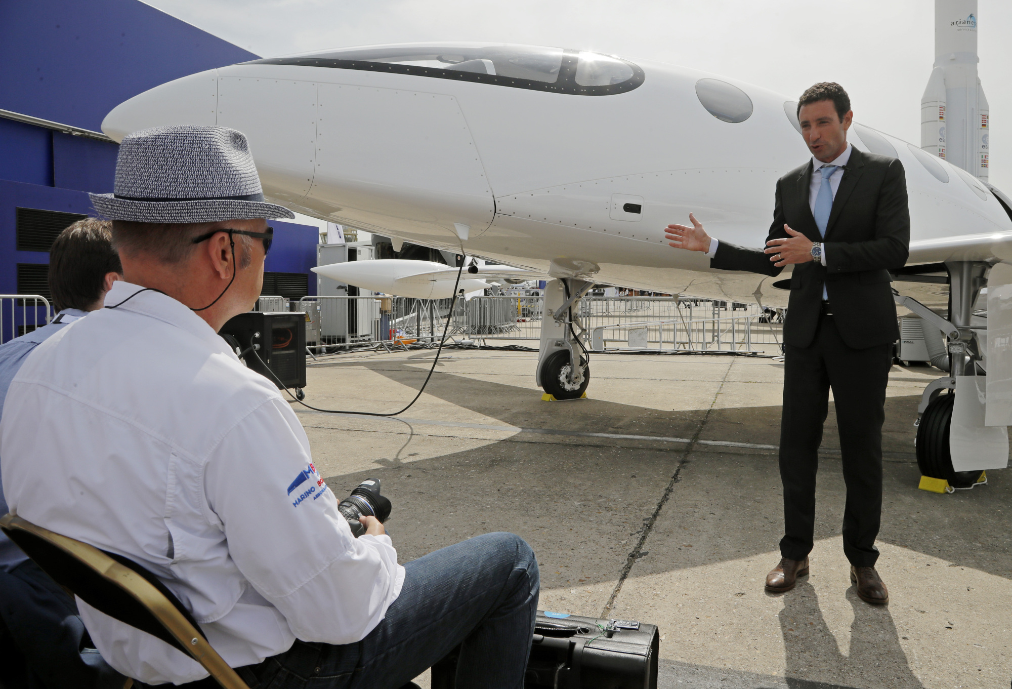 Omer Bar-Yohay, Eviation CEO and co-founder, gestures as he speaks during a media conference next to his prototype electric aircraft at the Paris Air Show, in Le Bourget, east of Paris, Tuesday. Israeli startup Eviation displayed an all-electric airplane prototype dubbed Alice, as the aviation industry increasingly looks to electric and hybrid technology because of pressure from regulators and the public to reduce emissions. | AP