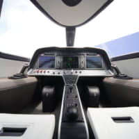 Joystick controls sit either side of dashboard screens in the cockpit of an Alice electric aircraft, manufactured by Eviation Aircraft Ltd., during the 53rd International Paris Air Show at Le Bourget, in Paris on Tuesday. | BLOOMBERG