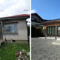 An abandoned house (left) is renovated (right) for sale by Katitas Co. in a rural area in Japan. | BLOOMBERG